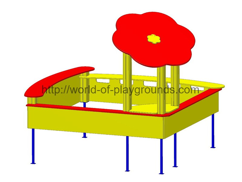 Sandbox with flower and split-level seats wp420