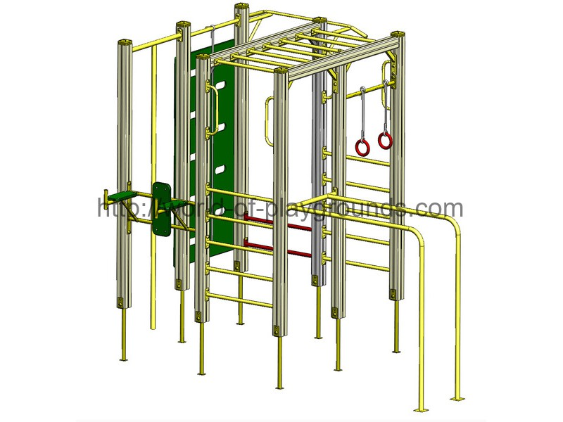 Gymnastic structure with rings and a rope wp1002