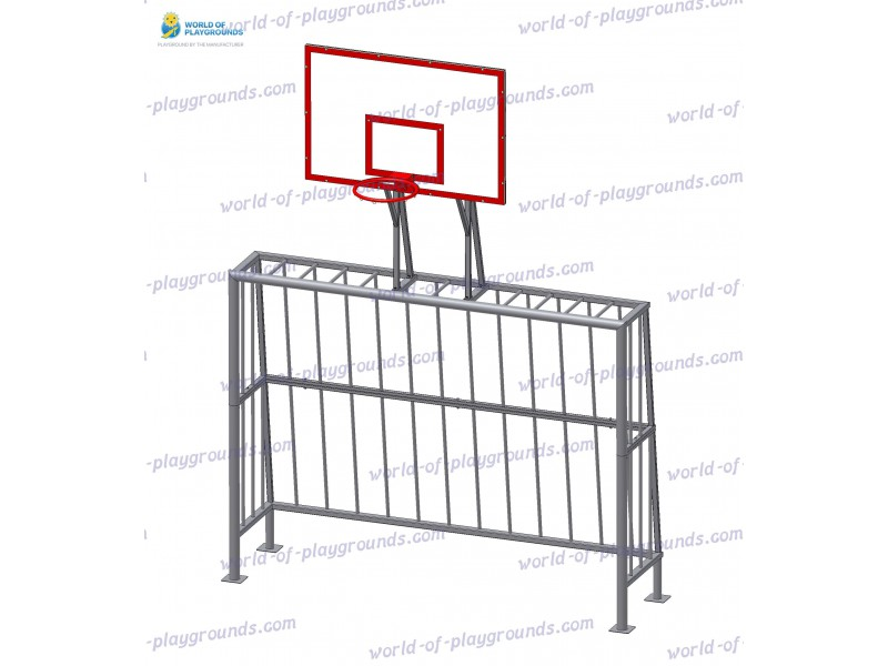 Ворота мини-футбольные с баскетбольным щитом (без сеток) wp1403