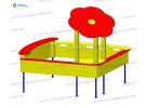 Sandbox with flower and split-level seats wp418